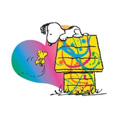Marmont Hill Woodstock and Snoopy Heart Peanuts Print on Canvas, Size: 36 inch x 24 inch, Multicolor