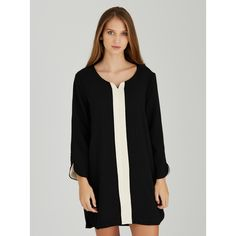 Eve Monochrome Tunic Dress Black and White