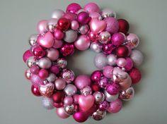 PINK SILVER Magenta VALENTINE'S Ornament Wreath by dottiegray
