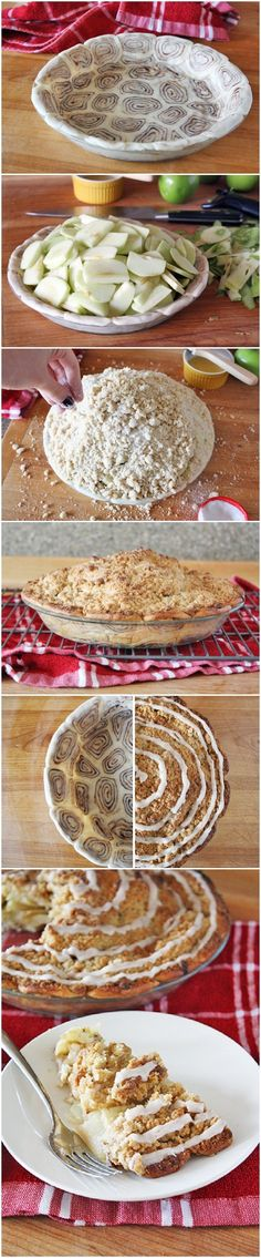 Cinnamon Roll Apple Pie I've made this several times, always a big hit. I lower cooking temp about 25 degrees so the crust doesn't burn on the bottom and add a few minutes baking time. I always put a cookie sheet underneath when baking to catch the dribbles.-MH