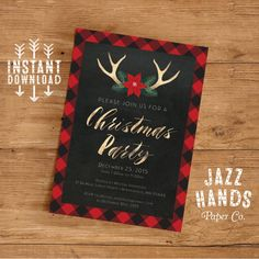 Christmas Party Invitation  Holiday Party by JazzHandsPaperCo