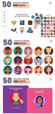 50 Avatar Users Icons included: Avatar Icons Male Avatar Icons Female Avatar Icons You will download: 1 Ai file easy to customize in Illustrator you will be able to change text, color, size (Suitable for printing and all image programs). 1 EPS file easy to customize in any design program. 1 SVG file easy open in Sketch, Inkscape or any other vector editing program. 512 x 512 px icons easy to resize and adapt to your designs 50 EPS files separate icons #50 #Avatar #Users #Icons #icon #Template Brochure Template, Flyer Template, Female Avatar, Graphic Design Templates, Online Entrepreneur, Text Color, Svg File, Icon Design, Illustrator