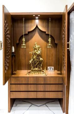 Luxurious Penthouse Interior design is a showcase of the bond between the traditional and the modern minimalistic lifestyle - MEDITATION ROOM IDEAS - Door Design Luxury Home Decor, Luxury Interior Design, Interior Design Living Room, Temple Room, Home Temple, Temple Design For Home, Wooden Temple For Home, Mandir Design, Pooja Room Door Design