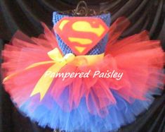 Superhero inspired tutu dress - Supergirl costume - Halloween ideas size newborn to 4t - costume