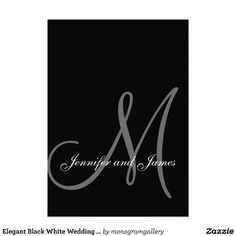Elegant Black White Wedding Invitations Initial $2.15 Customize with your monogram, names and wedding colors. Add all your wedding information on the back of the card