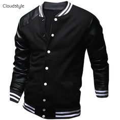 d651aaa37b3eda Cool College Baseball Jacket Men 2016 Fashion Design Black Pu Leather  Sleeve Mens Slim Fit Varsity