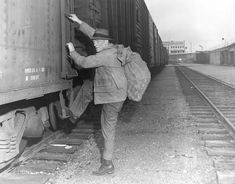 """""""Some other town, some other day, may be better"""" was the caption on this photo when it ran with a special report on Spokane's train hobos, written by Dorothy Rochon Powers and published in November 1958."""