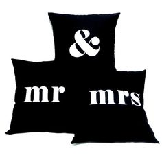 Pillow Covers  MR & MRS  Set of 3 Hand by linneaswedishdesign, $99.95
