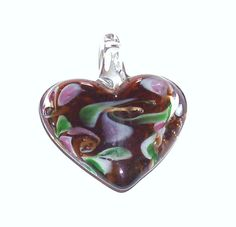 Murano Glass Puffed Heart Pendant in Honey with by BeadsFromHaven, $3.00