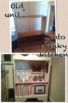 DIY kids play kitchen upcycled by my clever hubby from an old unit!