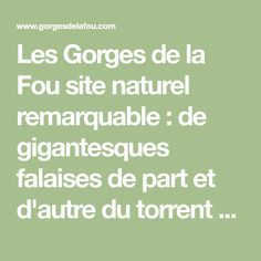 Les Gorges de la Fou site naturel remarquable : de gigantesques falaises de part et d'autre du torrent de la Fou sur lesquelles s'accrochent des passerelles