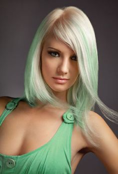 Minty Fresh color! Loving this look for Spring!   Step 1: Lighten the Level 7 re-growth to a Level-10 Platinum, using ChromaSilk 10V with 40-volume crème developer.  Step 2: Create color flashes by using ChromaSilk Pastels Mystical Mint in foils. Place two rows of al....  http://www.modernsalon.com/hair-photos/how-to/Minty-Fresh-Pravanas-ChromaSilk-Pastel-Color-Formula--199899101.html#