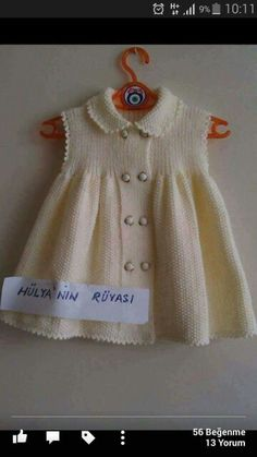 Enjoy this gorgeous parade of crochet baby girl dress practices to produce a valued young one! Baby Dress Patterns, Baby Knitting Patterns, Crochet Patterns, Baby Vest, Baby Cardigan, Knitting For Kids, Crochet For Kids, Free Crochet, Knit Baby Dress
