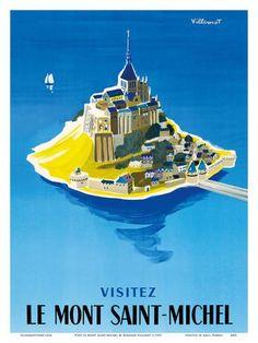Visit Le Mont Saint-Michel - Normandy, France Prints by Bernard Villemot at AllPosters.com