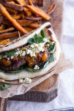 Moroccan Spiced Lamb Burgers with Apricot Chutney + Pistachio Feta Pesto | halfbakedharvest.com