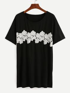 Camiseta flor crochet aplique-(Sheinside)