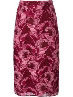 House Of Holland woven leafy midi skirt