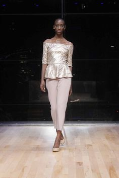 Kevin Hall Signature Collection Gold Peplum Top w/ Silk trouser.