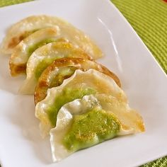 vegetarian pot stickers with a creamy edamame filling