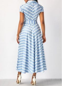Cap Sleeve Striped V Neck Belted Dress Women's Fashion Dresses, Sexy Dresses, Cute Dresses, Dresses With Sleeves, African Wear, African Dress, Look Fashion, Womens Fashion, Cheap Fashion