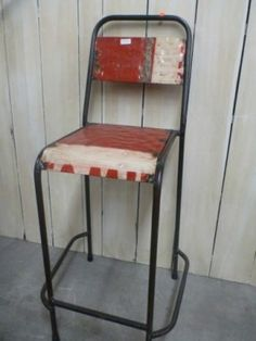 Bali Furniture Recycled Tin Metal Rustic Chair Seat Tall Bar Stool Red White