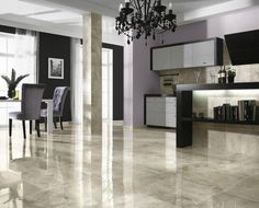 Glossy Marble Ceramic Tile Floor Ideas For Modern Living Room - Use J/K to navigate to previous and next images