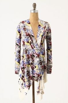 NEW Guinevere Medium Cardigan Floral Bramble Waves Wrap Sweater Anthropologie-M #Guinevere #Cardigan