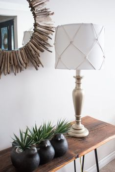 DIY Nautical Table Lamp Makeover – Sustain My Craft Habit - Modern Nautical Lamps, Nautical Table, Nautical Lamp Shades, Decor Crafts, Home Crafts, Diy Home Decor, Diy Crafts, Table Nautique, Nifty Diy