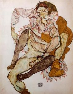 Seated Couple (Egon and Edith Schiele) - Egon Schiele 1915