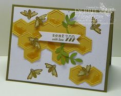Nature Walk, Sent with Love - Cardstock: More Mustard, Whisper White, Soft Suede, Old Olive - Inks: Soft Suede, More Mustard Stampin' Write Marker - Tools: Big Shot Machine, Honeycomb Embossing Folder, Stampin' Dimensionals, Crystal Effects, Dazzling Details, Spritzer, Bird Punch, Bitty Banners Framelits Dies, Paper Snips - Love the use of Crystal Effects to create the look of honey on the honeycomb!