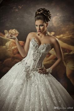 Royal Dramatic Sexy Sweetheart Ball Lace Bling Crystals Ball Gown Wedding Dress $246.65