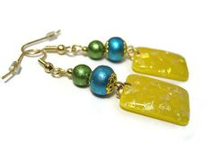 Drop Dangle Earrings Green Blue Yellow Sparkle by SharkysWaters