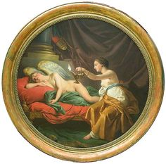 Louis-Jean-François Lagrenée: Psyche Surprises the Sleeping Cupid. Monet, Picasso, Valentine Cupid, Louvre, Museum, Acanthus, Romantic Love, Greek Mythology, Amor