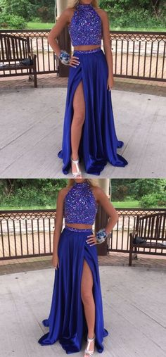 2017 Custom Made Royal Blue Prom Dress,Popular Two Pieces Evening Dress,Floor Length Party Gown,Side Slit Beading Pegeant Dress,High Quality #royalbluepromdresses #beadedtoppromdress #twopiecespromdresses #SimpleAlinePromDresses #sleevelesspromdresses #promdresseswithslit #prom #dresses #longpromdress #promdress #eveningdress #promdresses #partydresses #Prettyqueenprom
