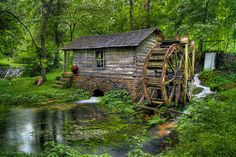 Mill in Missouri Ozarks, image by JE Shelton / green / forest / water / log cabin / waterfall /