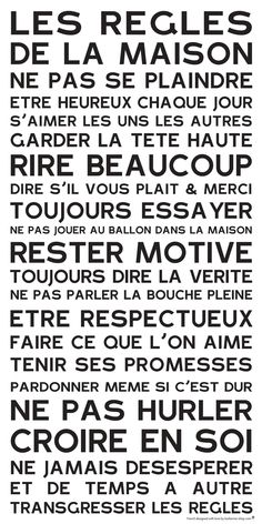 Affiche adhésive - Sticker géant - Poster autocollant Home Rules - manifeste de la Famille: Quote Citation, House Rules, Positive Attitude, Motivation, The Words, Decir No, Quotations, Affirmations, Life Quotes