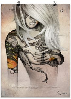 Digital art thank@abduzeedo.   Love the hair?!  and it reads 'Happiness is like a butterfly' hmmm