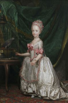 Portrait of a young Maria Theresa of Austria, Queen of Saxony. She was the first daughter and oldest child of the future Leopold II and Maria Luisa of Spain; niece of Marie Antoinette. European History, Women In History, Art History, Marie Antoinette, Carl Spitzweg, Maria Teresa, Hans Holbein, Rococo Fashion, 18th Century Fashion