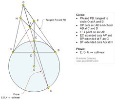 Geometry Problem 1210: Circle, Tangent Line, Secant, Chord, Collinear Points