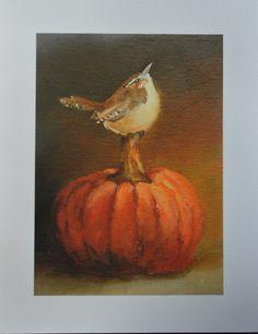 Pumpkin Wren Bird print from original painting by via Etsy Small Paintings, Original Paintings, Sweetest Devotion, Pumpkin Art, Harvest Moon, Autumn Art, Bird Prints, Bird Art, Painting Inspiration