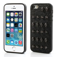 Cool #Skull & Pyramid Leather Coated TPU Shell Cover for #iPhone5s 5