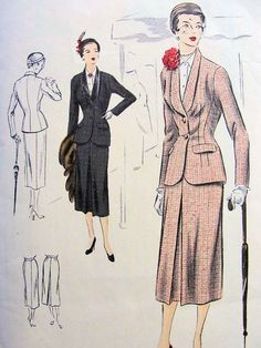1950s SUIT PATTERN FITTED JACKET, TUXEDO COLLAR, STRAIGHT SKIRT, FRONT INVERTED PLEAT VOGUE SPECIAL DESIGN PATTERNS 4086