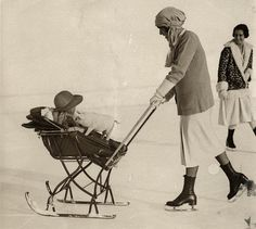 1926, Pig and Baby skating with mother in  Switzerland.