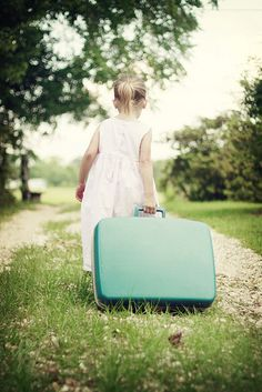 My daughter and her vintage suitcase