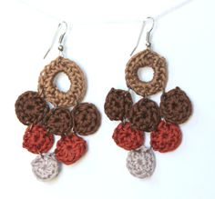 brown and rust crochet chandelier earrings by royaboya on Etsy, $14.00