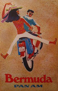 "vntgtravel: ""Bermuda - Pan Am Travel Poster """