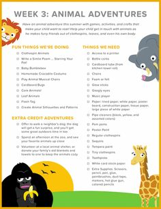 Animal Adventures Checklist | Education.com