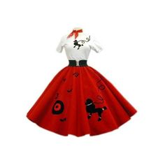 PDS6 Red Skirt With Black Dog, Record & Notes ❤ liked on Polyvore featuring dresses, 1950s, skirts, 50s and poodle