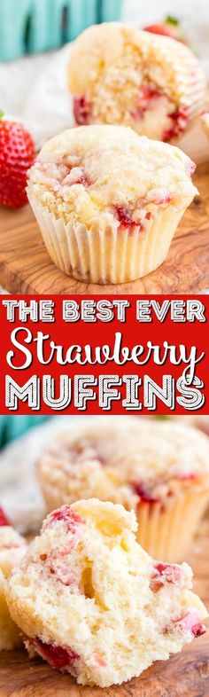 These Strawberry Coffee Cake Muffins are made with sweet fresh berries and buttermilk and topped with a delicious sugar and butter crumble! They're super easy to make and readers have called them the best muffin recipe they've ever had! #strawberry #muffins #recipe #breakfast #berry #coffeecake