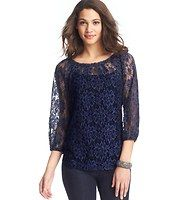 Carnation Lace Blouse - In an alluring midnight blue hue, we're swept off our feet by the endless romance of this lace confection. Add a cami beneath for more coverage. Boatneck. 3/4 sleeves. Pleated detail at neckline. Button cuffs.